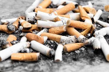 Pile of cigarette butts- Families Advocating for Chemical & Toxics Safety