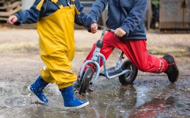 Children playing outside in rain gear- Families Advocating for Chemical & Toxics Safety